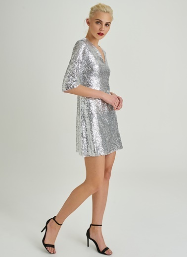People By Fabrika V Yaka Payet Elbise Gümüş